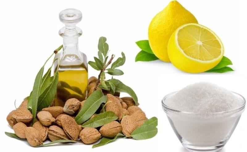 Hỗn hơp muối, chanh và dầu hạnh nhân