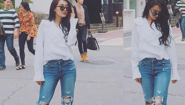 Cách phối quần jean với áo sơ mi