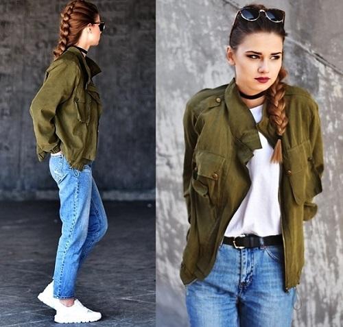 Áo xanh rêu mix cùng quần jean xanh