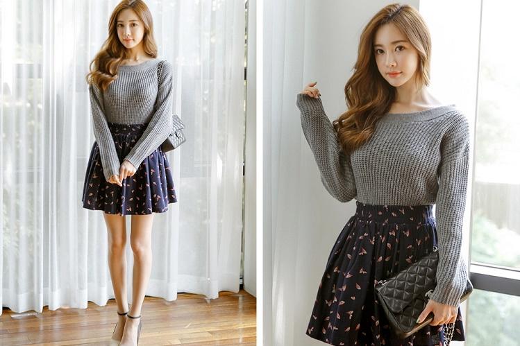 Chân váy xòe kết hợp với áo len như thế nào thì hợp