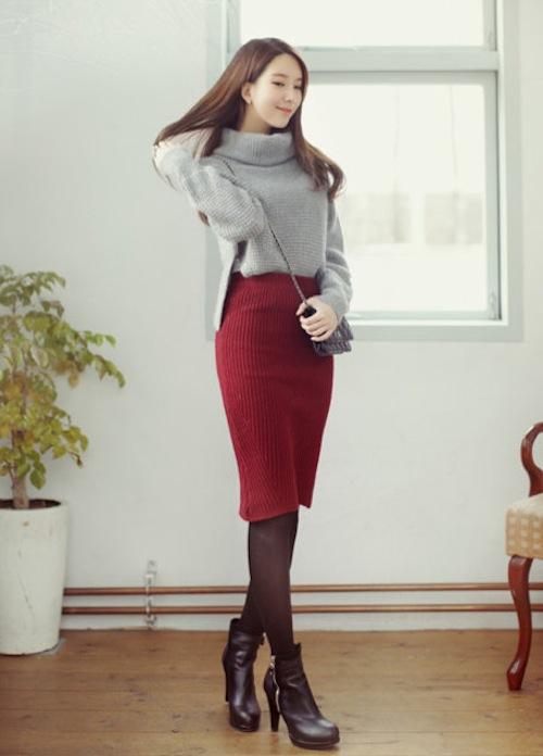 Mix chân váy len ôm sao cho đẹp và cuốn hút